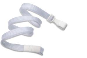 White 10mm Flat Lanyard with Plastic Slide Hook