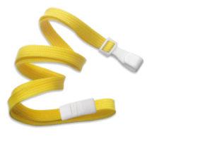 Yellow 10mm Flat Lanyard with Plastic Slide Hook