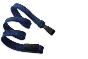 Navy Blue 10mm Flat Lanyard with Plastic Slide Hook