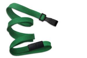 Green 10mm Flat Lanyard with Plastic Slide Hook