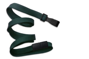 Forest Green 10mm Flat Lanyard with Plastic Slide Hook