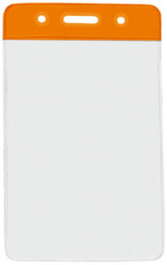 1820-1055 Orange colour bar vinyl badge holder-vertical