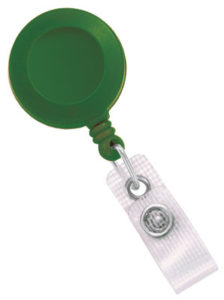 Green badge reel with reinforced vinyl strap