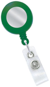 Green badge reel with sticker