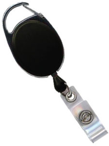 Black opaque premiere carabiner badge reel
