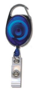 Blue translucent premiere carabiner badge reel